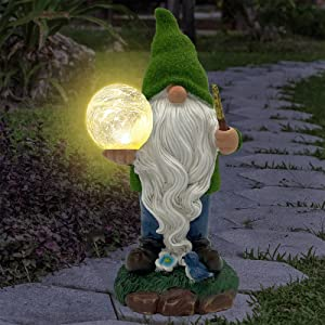 Untimaty Garden Gnome Statue Resin Garden Figurine Outdoor Flocked Gnome Carrying Crystal Ball with Solar LED Lights for Patio Yard Lawn Decorations and Ornament Gift