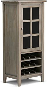 Simpli Home AXWSH008-GR Warm Shaker 12-Bottle Solid Wood 23 inch wide Rustic High Storage Wine Rack in Distressed Grey
