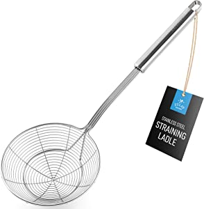 Zulay (5.4 Inch) Stainless Steel Strainer - Spiral Wire Mesh Skimmer Spoon Ladle With Long Handle - Reinforced Double Coil Slotted Spoons For Cooking and Frying