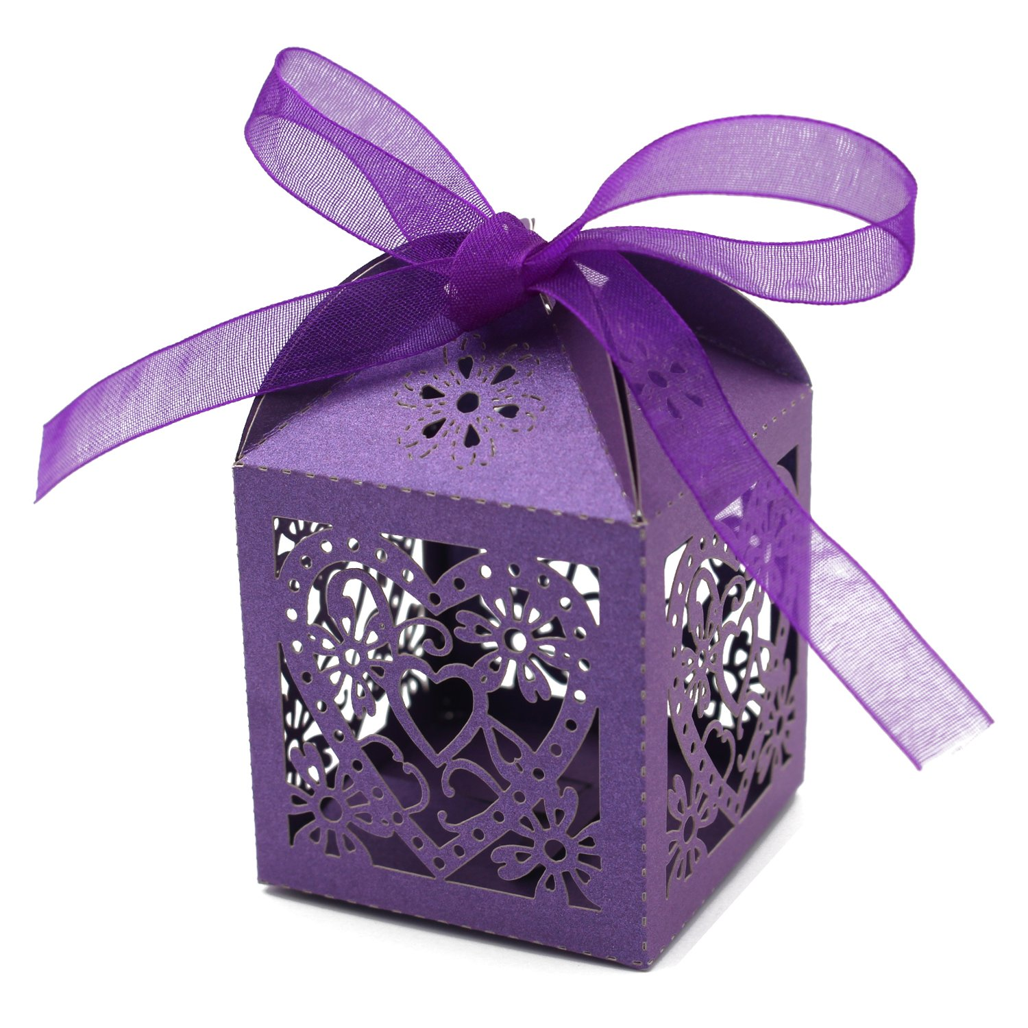 Keiva 70 Pack Love Heart Laser Cut Wedding Party Favor Box Candy Bag