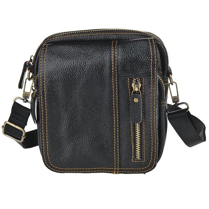 38ee0f621e Bininbox Men s Small Leather Shoulder Messenger Bag Carry Organizer Satchel  Bag (Black)