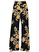 Choies Women's Black Floral High Waist Palazzo Flare Pants