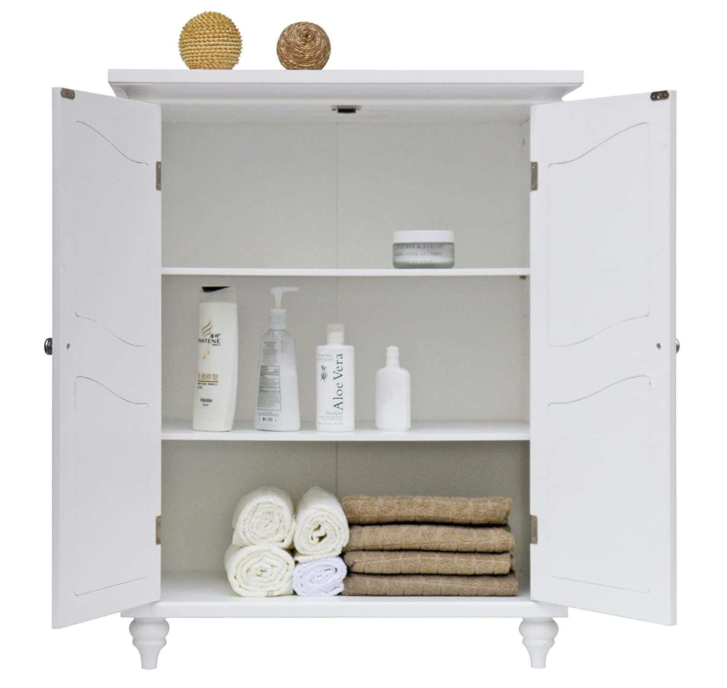 Amazon.com: Elegant Home Fashion Vera 2 Door Floor Cabinet, White: Kitchen  U0026 Dining