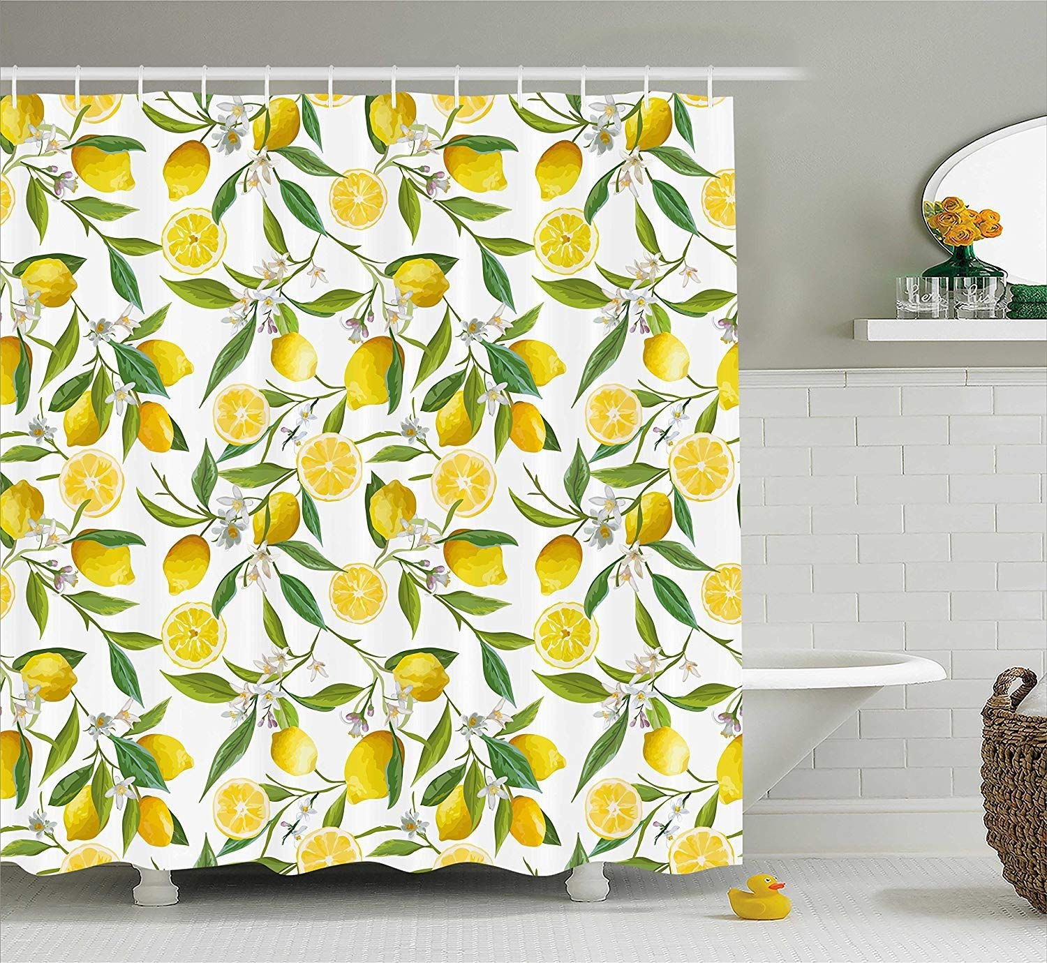 HiExotic Duschvorhang Whimsy Nature Shower Curtain Sets Exotic Lemon Tree Branches Yummy Delicious Kitchen Gardening Design,Non-Toxic Waterproof Decor,Fern Green Yellow White,60X72In