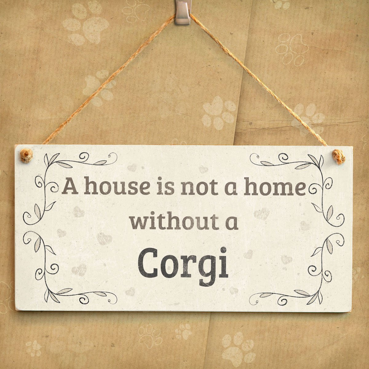 Meijiafei A House is Not A Home Without A Corgi Rustic Style Dog Sign//Plaque 10x5