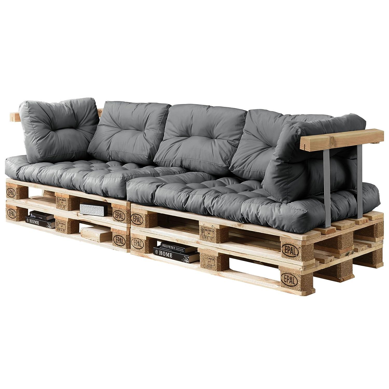 [en.casa] Euro Paletten-Sofa - DIY Möbel - Indoor Sofa mit Paletten-Kissen   Ideal für Wohnzimmer - Wintergarten (2 x Sitzauflage und 5 x Rückenkissen) Grau