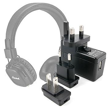 DURAGADGET Kit De Adaptadores con Cargador para Auriculares Marshall Major II inalámbricos: Amazon.es: Electrónica