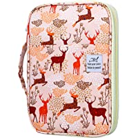 YOUSHARES 96 Slots Colored Pencil Case, Large Capacity Pencil Holder Pen Organizer Bag with Zipper for Prismacolor Watercolor Coloring Pencils, Gel Pens for Student & Artist (Christmas Deer)