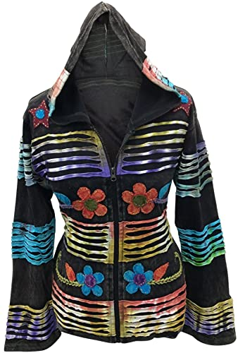 Shopoholic Moda Mujer Hippie Festival Con capucha Etnic chaqueta con flores