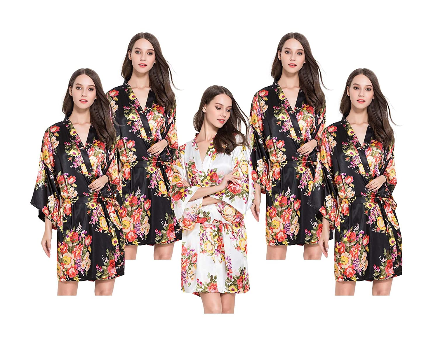 Set of 5 Satin FLORAL Kimono Robes, Hen Party Getting Ready Robes ...