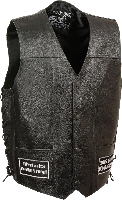 Black, 5X-Large Event Leather Mens 8 Patches Vest