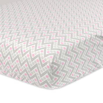 Amazon.com : Just Born 100% Cotton Fitted Crib Sheets, Pink/Grey Chevron : Baby