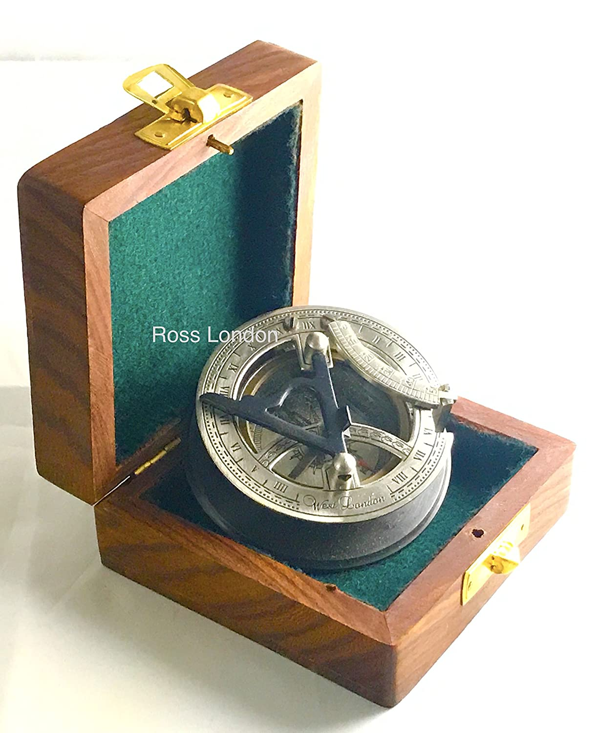 BRASS SUNDIAL COMPASS -Solid Brass Pocket Sundial - West London With Wooden Box ross london