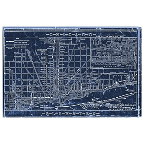 Amazon the oliver gal artist co chicago railroad blueprint the oliver gal artist co quotchicago railroad blueprint mapquot malvernweather Image collections