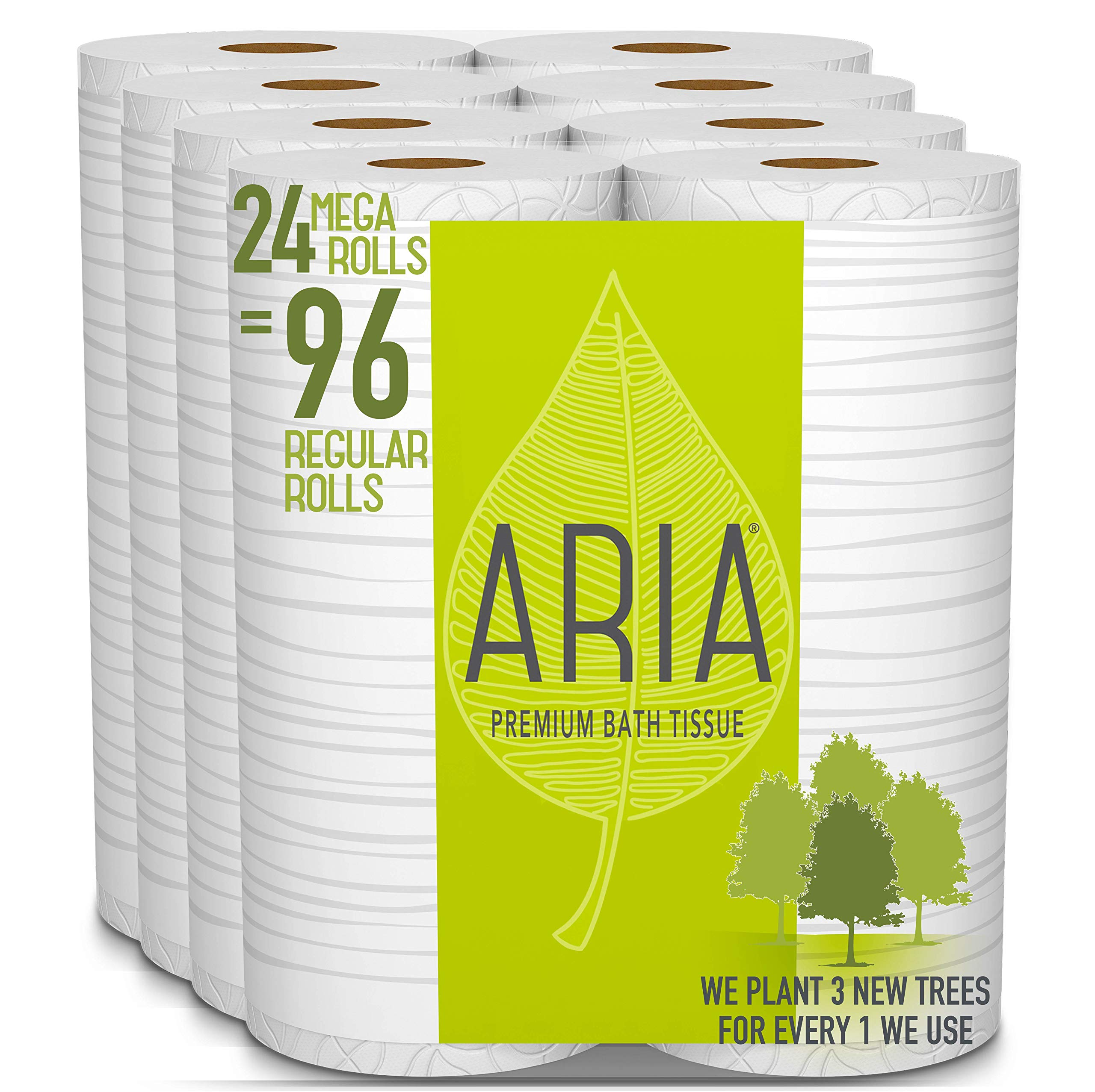 Aria Premium, Earth Friendly Toilet Paper, 24 Mega Rolls, 24 = 96 Regular Rolls, 4 Packs of 6 Rolls by ARIA