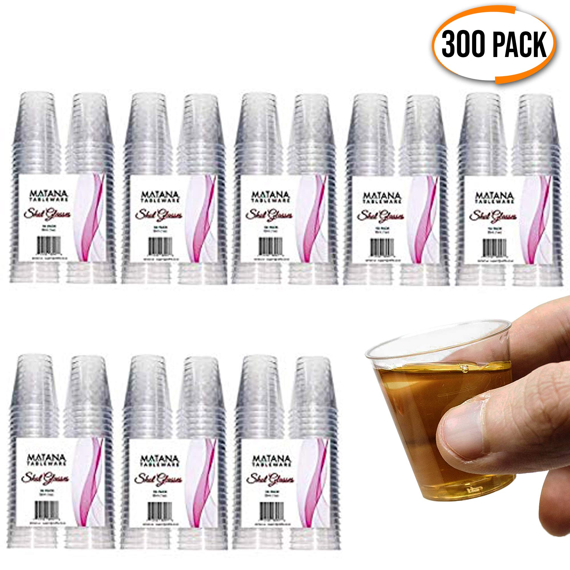 300 Disposable Plastic Shot Glasses, 1oz(30ml) - Crystal Clear, Heavy Duty, Shatterproof & Reusable Shot Cups - for Shots, Vodka Jelly, Weddings, Dinners, Christmas, New Year - 100% Recyclable by Matana