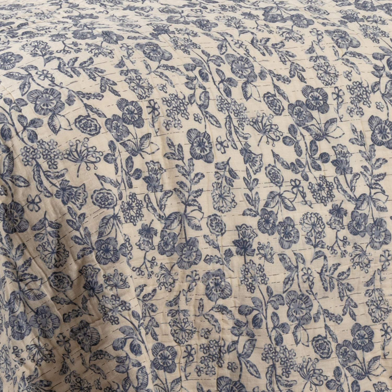Piper Classics Doylestown Blue Queen Patchwork Quilt, Gingham Checks, Grain Sack & Ticking Stripes, Reversible to Floral Print, Blue & Cream Vintage Farmhouse Bedding, Rustic Country, Cottage Bedroom by Piper Classics (Image #6)