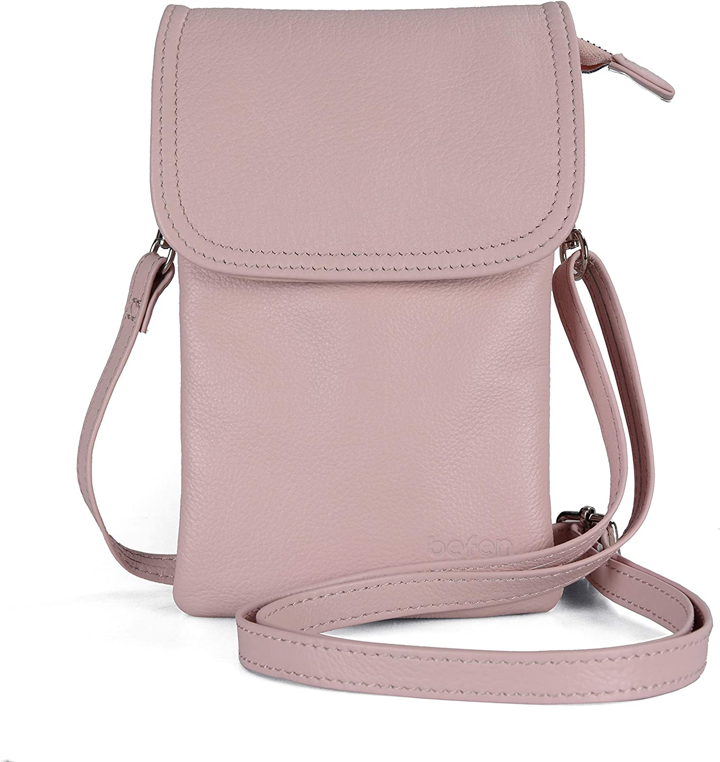 Women Small Crossbody Bag Fit iPhone Xs Max Befen Leather Cell Phone Crossbody Wallet Purse