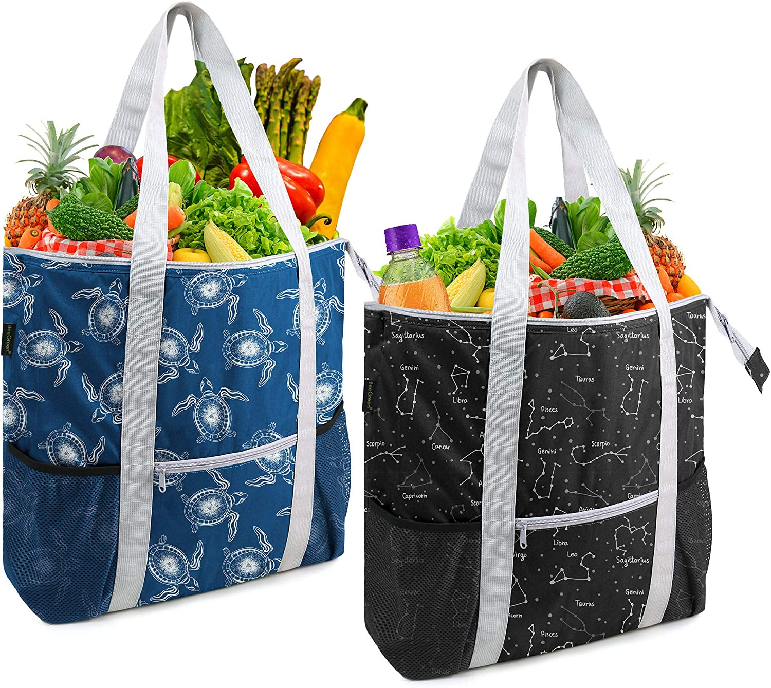 BeeGreen Insulated Bags Set of 2 Cooler Thermal Totes for Cold and Hot Food Transport Durable Reusable Shopping Freezer Baggies with Zippered Top Long Handles Black Navy Blue