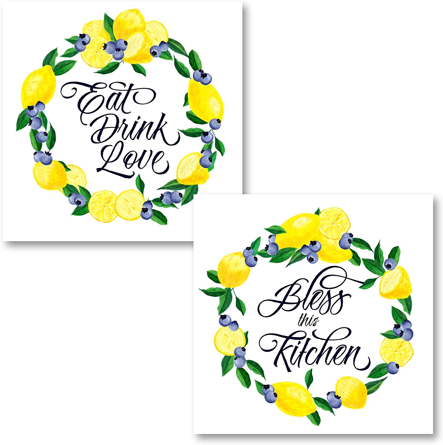"""Lovely White, Green and Blue Lemon Berry """"Bless This Kitchen"""" and """"Eat Drink Love"""" Sign Set by Noonday Design; Two 12x12in Unframed Paper Posters"""