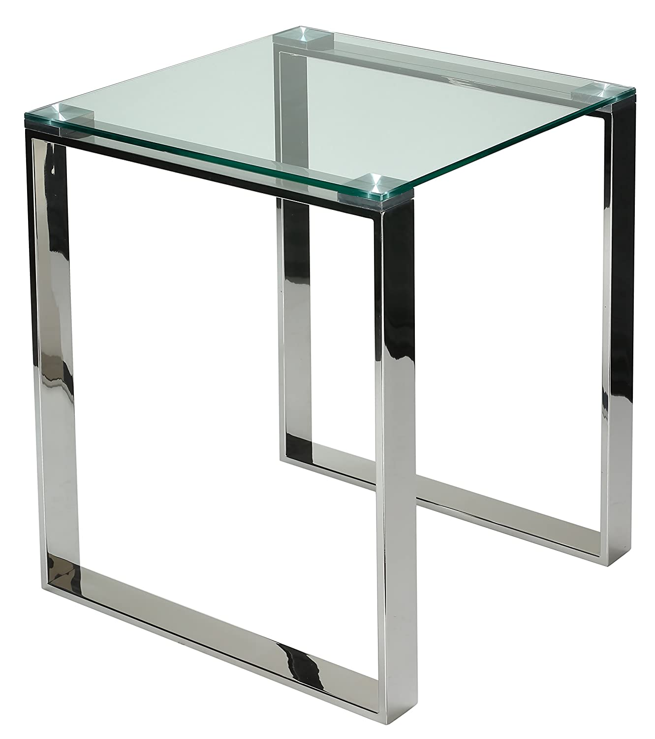 Amazon.com: Cortesi Home Remi Contemporary Square Glass End Table With  Chrome Finish: Kitchen U0026 Dining