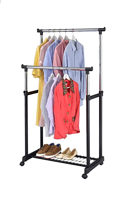 Exceptionnel Finnhomy Double Rail Adjustable Rolling Garment Rack With Bottom Shelf    Clothes Hangers With Wheels