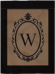 "pingpi W Monogram Double-Sided Burlap Garden Flag - 12.5"" W x 18"" H"