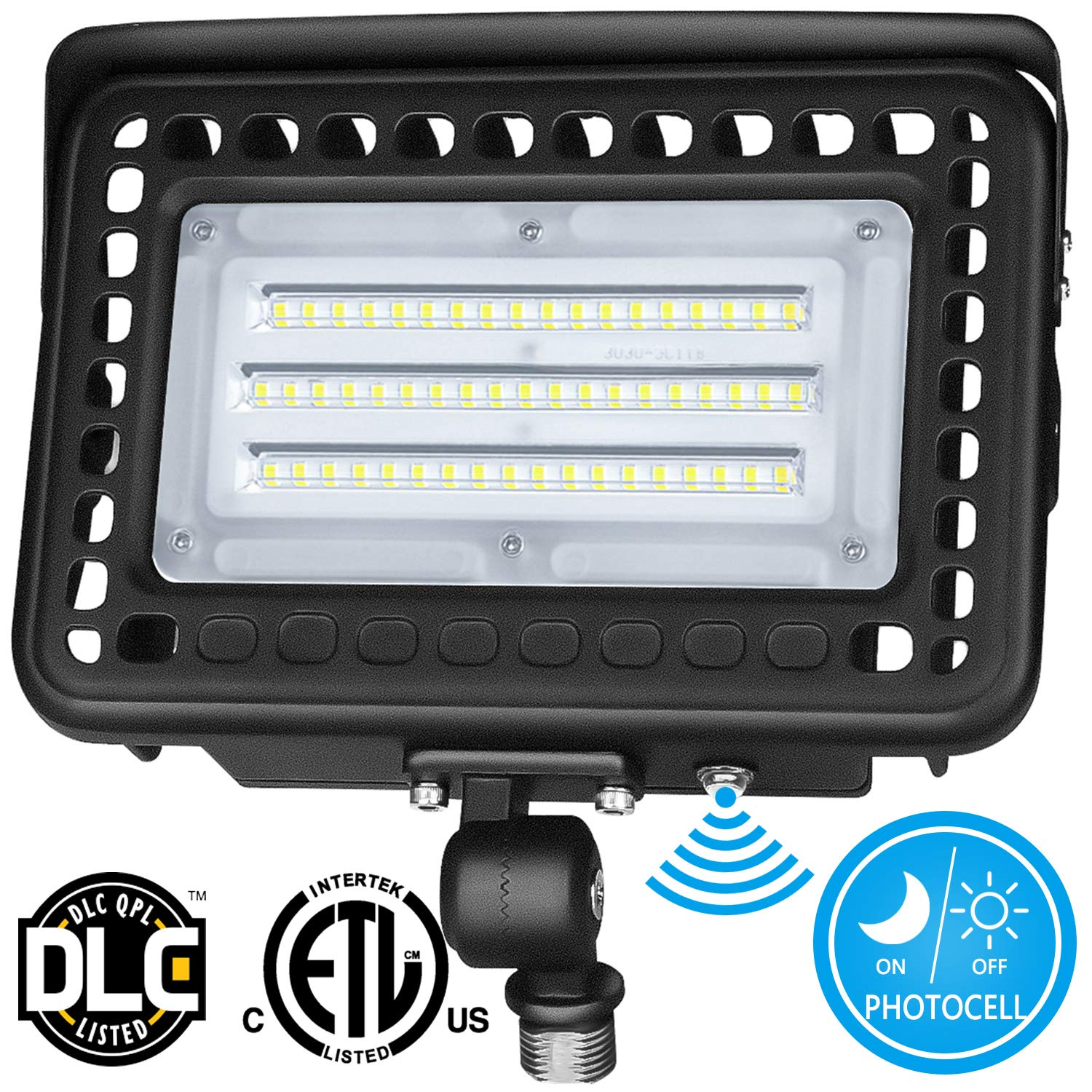LEDMO 60W Knuckle Mount LED Flood Light 7800Lm LED Lights with Photocell Dusk to Dawn Outdoor LED Flood Lights 5000K 300W MH Equal for Doorways|Pathways|Yard|Landscape|Garden UL&DLC Listed