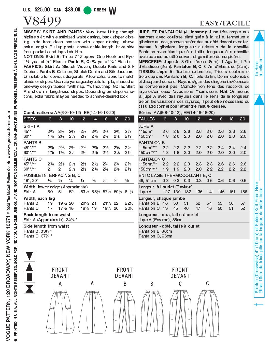 Vogue Patterns V8499 - Patrones de costura para faldas y pantalones ...