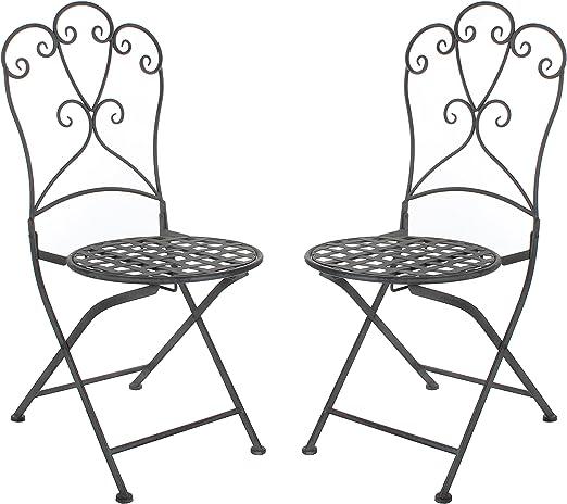 Greenware 158295-T - Muebles romántica Deco, Silla de cafetería, Silla de Malla metálica y Sara, Gris: Amazon.es: Jardín