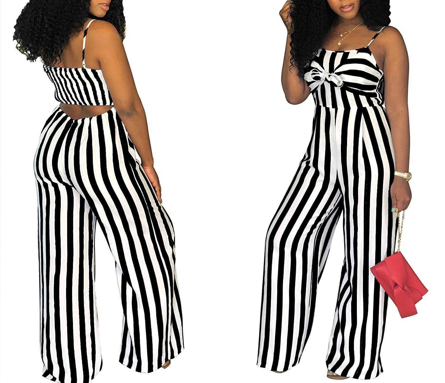 5c5694ba68a Amazon.com  shekiss Women s Sexy Spaghetti Strap Striped Wide Leg Long Pants  Palazzo Jumpsuit Rompers Ladies Outfits  Clothing
