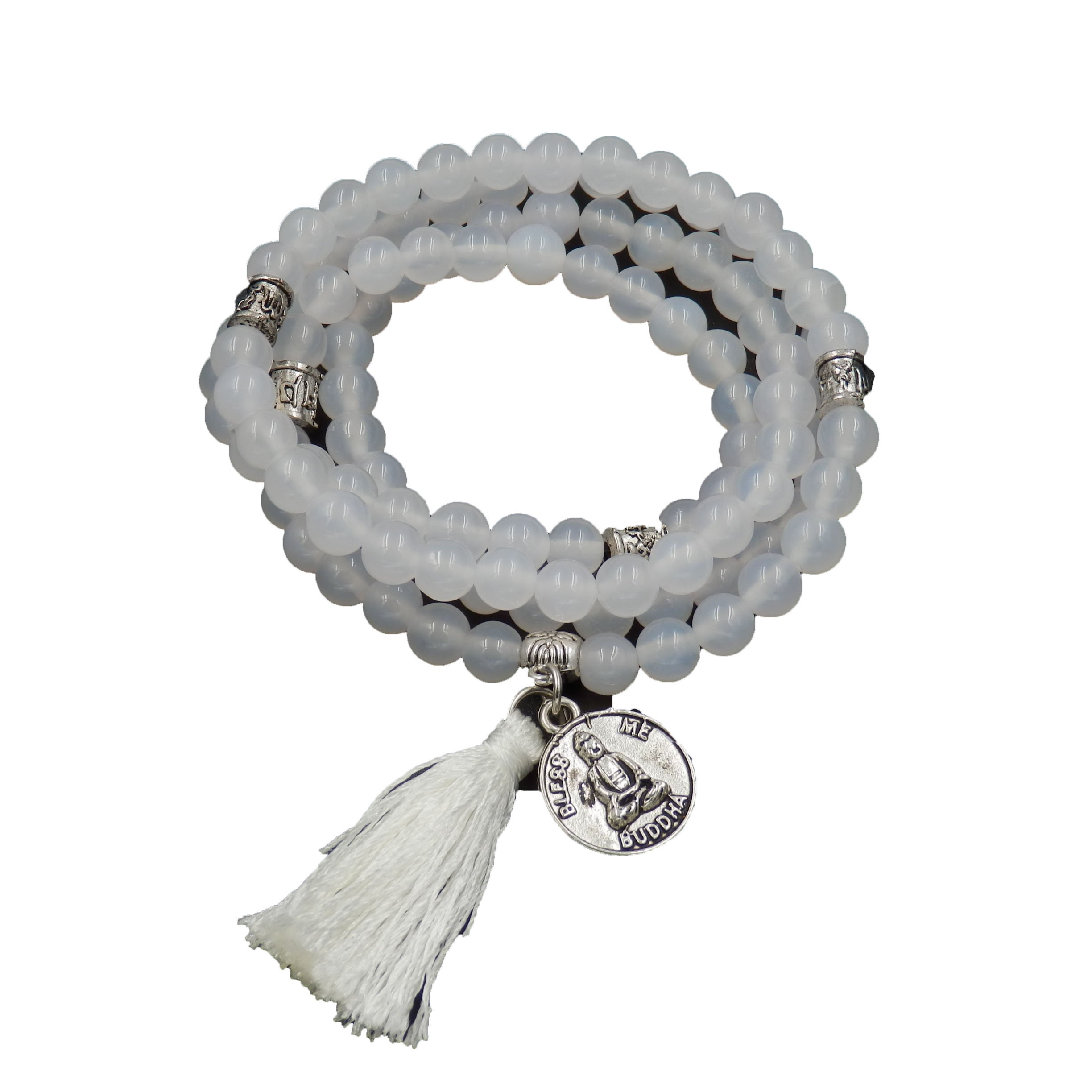 Mala Beads Bracelet, Buddhist Mala Prayer Beads, Buddha Bless Me Statement Necklace (White Agate)
