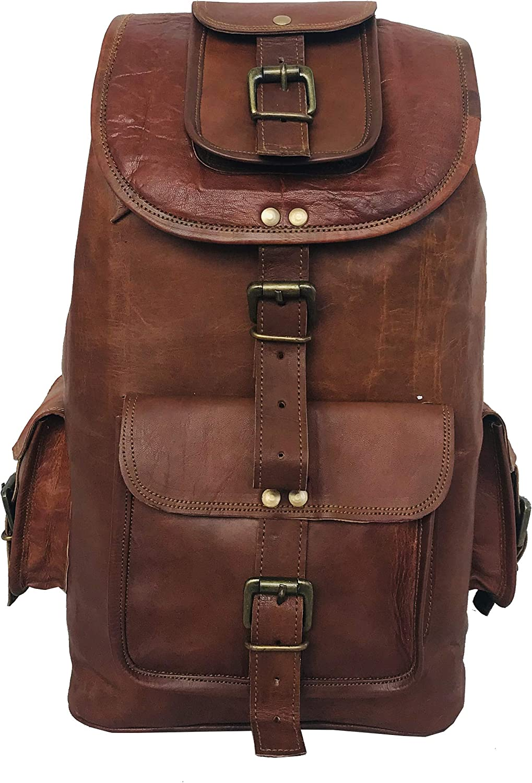 DHK 24'' Genuine Leather Vintage Handmade Casual Day-pack Cross body Messenger Laptop Backpack Travel Rucksack
