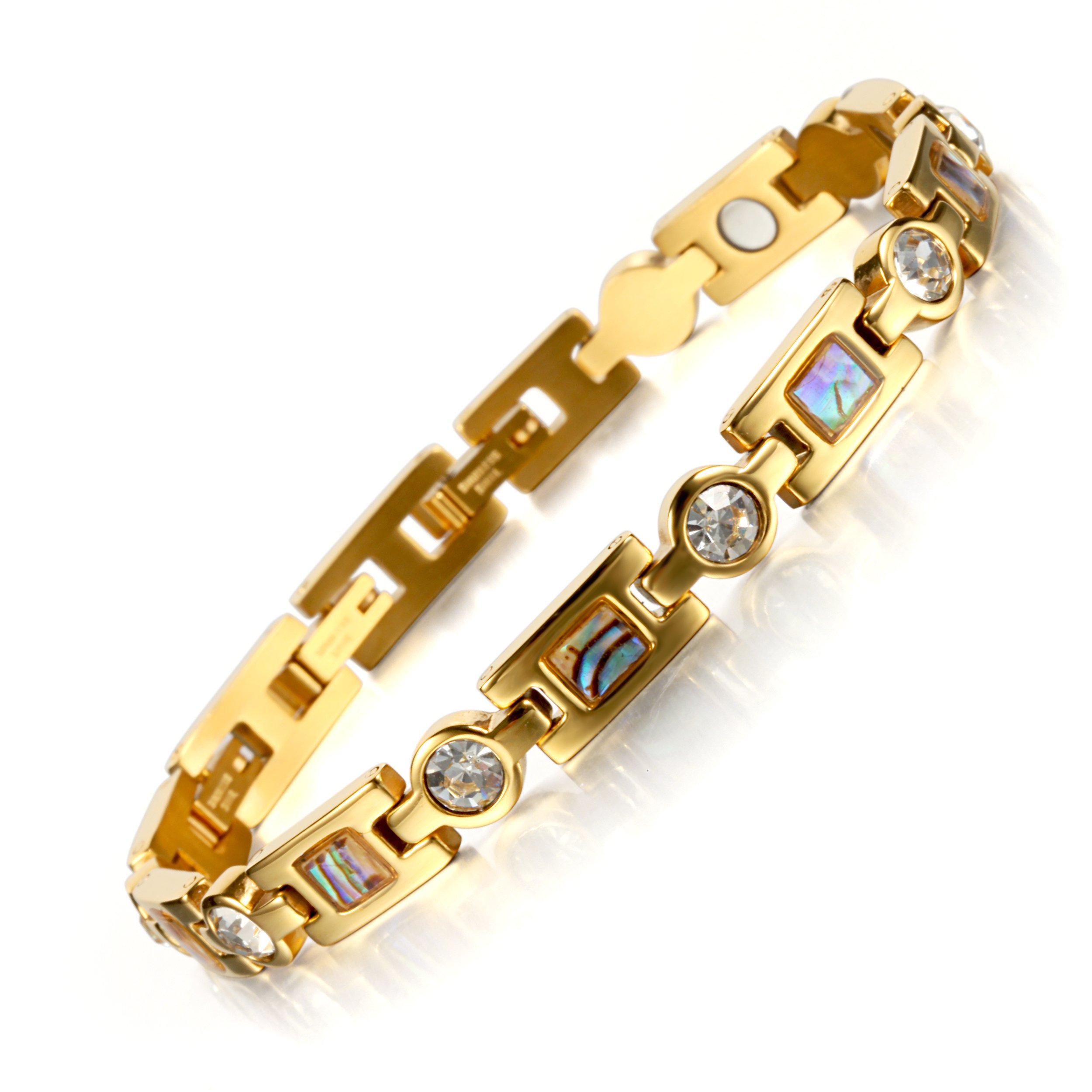 Rainso Titanium Steel Magnetic Therapy Bracelets for Women Rhinestone Health WristBand with 3 Smart Buckle (Gold)