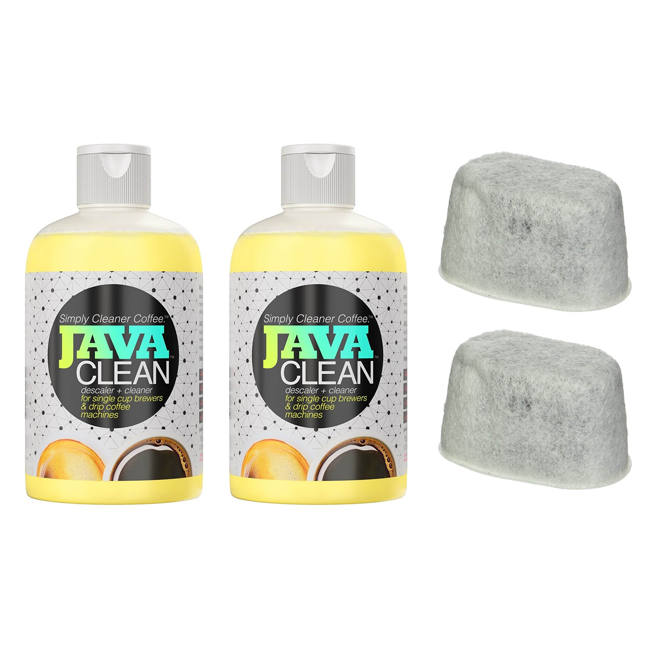 JAVA CLEAN Universal Coffee Cleaner Bundle - (Two 16oz Bottles + BONUS 2 Keurig Filters) Biodegradable Concentrated Coffee Descaling Formula made in USA - Coffee Machine Cleaner, Coffee Descaler