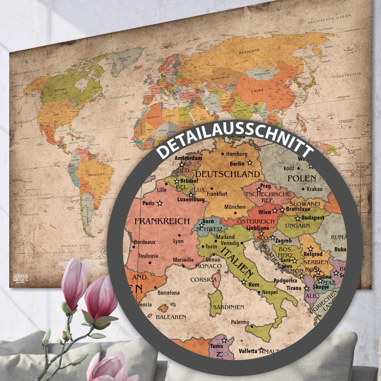 GOODS+GADGETS - Póster de mapa del mundo antiguo XXL en formato gigante, diseño vintage - Alta calidad (140 x 100 cm): Amazon.es: Hogar