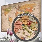 Antike Weltkarte XXL Poster im Riesenformat Vintage Design - Top Qualität (140x100cm)