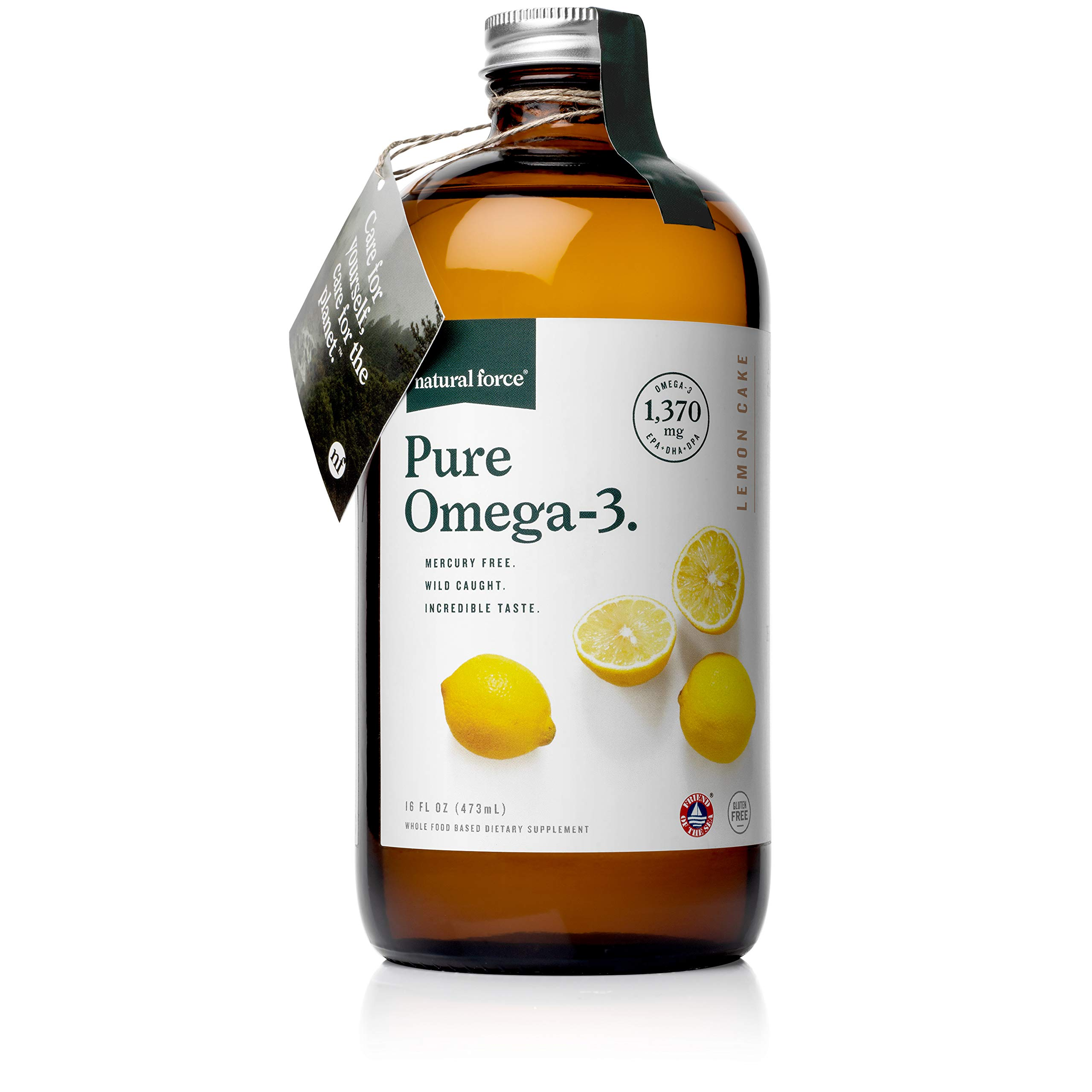 Natural Force Pure Omega 3 - Liquid Fish Oil for Adults and Kids – Lemon Cake Flavor - Mercury Free, Wild Caught, Lab Tested - 1,370 mg Triglyceride EPA, DHA, & DPA - 16 Oz Glass Bottle