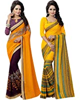 Ishin Combo of 2 Georgette Multicolor Party Wear Wedding Wear casual Daily Wear Festive Wear Bollywood New Collection Printed Latest Design Trendy Women's Saree/Sari