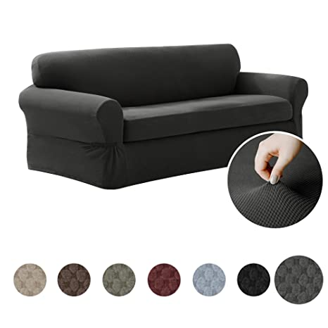 Stupendous Maytex Pixel Ultra Soft Stretch 2 Piece Sofa Furniture Cover Slipcover Charcoal Grey Evergreenethics Interior Chair Design Evergreenethicsorg