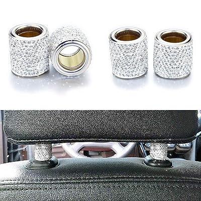 Bling Car Decor Headrest Collars,Jewelry for Your Car,Diamond Crystal Car Seat Headrest Interior Decoration Charms (Silver)