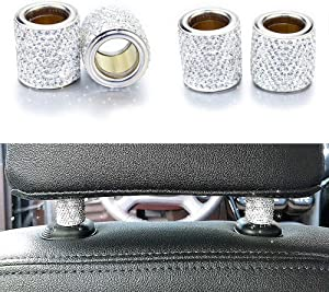 Bling Car Decor Headrest Collars Rings,Jewelry for Your Car,Diamond Crystal Car Seat Headrest Interior Decoration Charms (Silver)