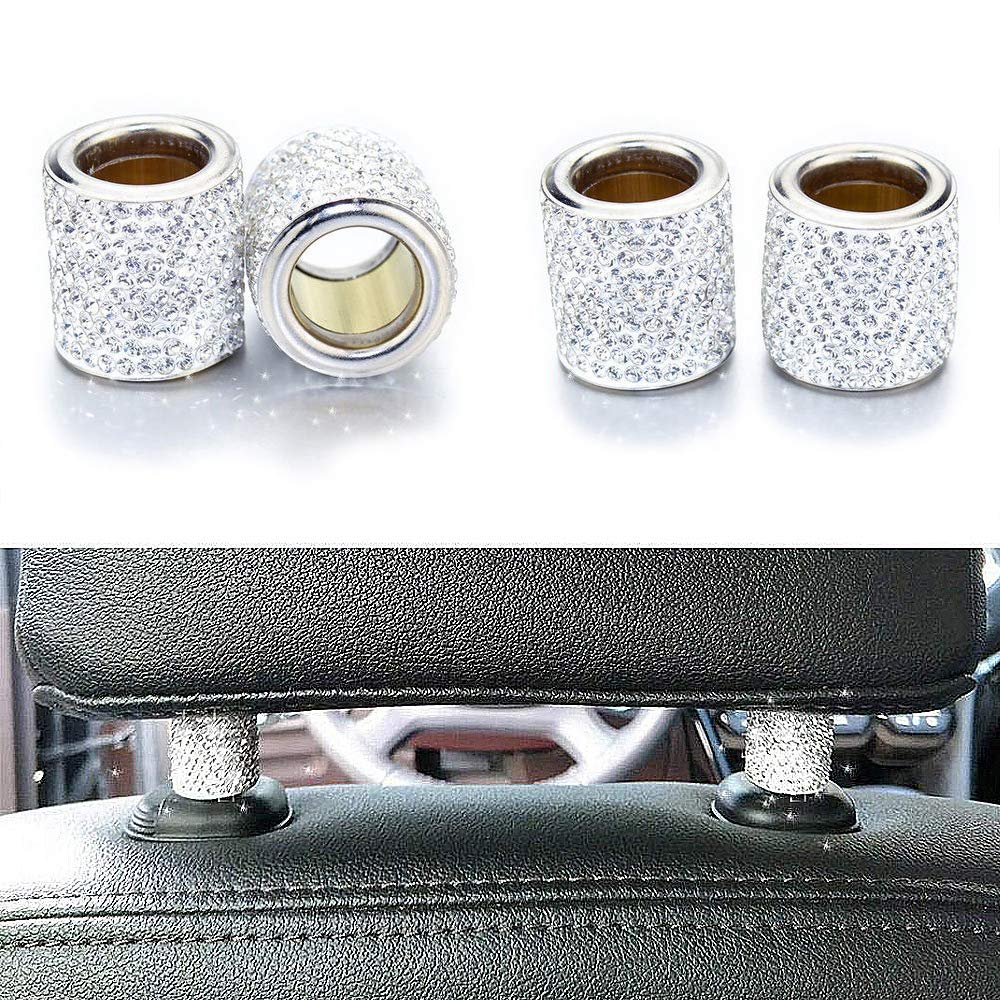 Black Head Rest Rings Decor Bling Car Accessories Crystal Rhinestone Interior Decoration for Car SUV Truck 4 Pack and Ignition Button Ring Sticker 1 Pack SAVORI Car Headrest Collars