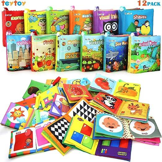 Mi Primer Libro teytoy 12pcs Libros para Bebés Tela no Tóxica para Bebés Actividad Crinkle Libros Blandos para Bebés Niños y Niñas Juguetes Educativo
