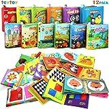 Mi Primer Libro, teytoy 12pcs Libros para Bebés Tela no Tóxica para Bebés Actividad Crinkle Libros Blandos para Bebés…