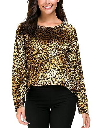 50b6276f EXCHIC Women's Velvet T-Shirt Leopard Print Tunic Top Long/Short Sleeve at  Amazon Women's Clothing store: