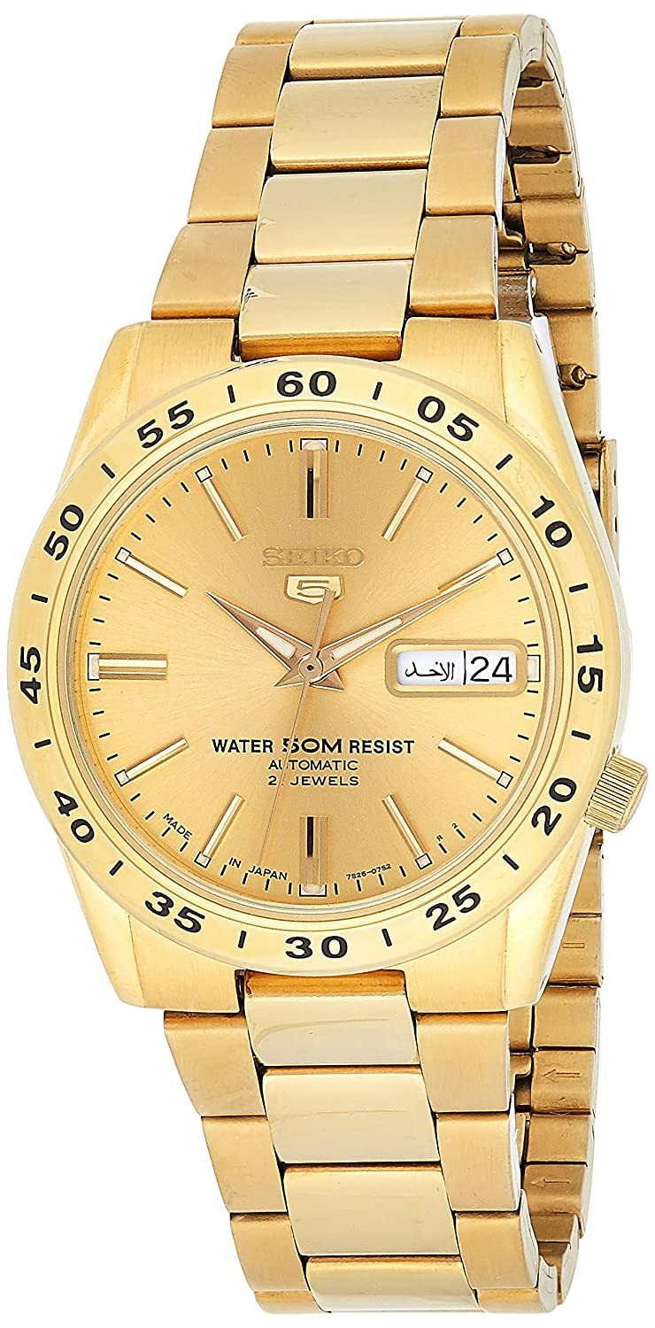 Seiko Men s SNKE06 Stainless Steel Analog with Gold Dial Watch