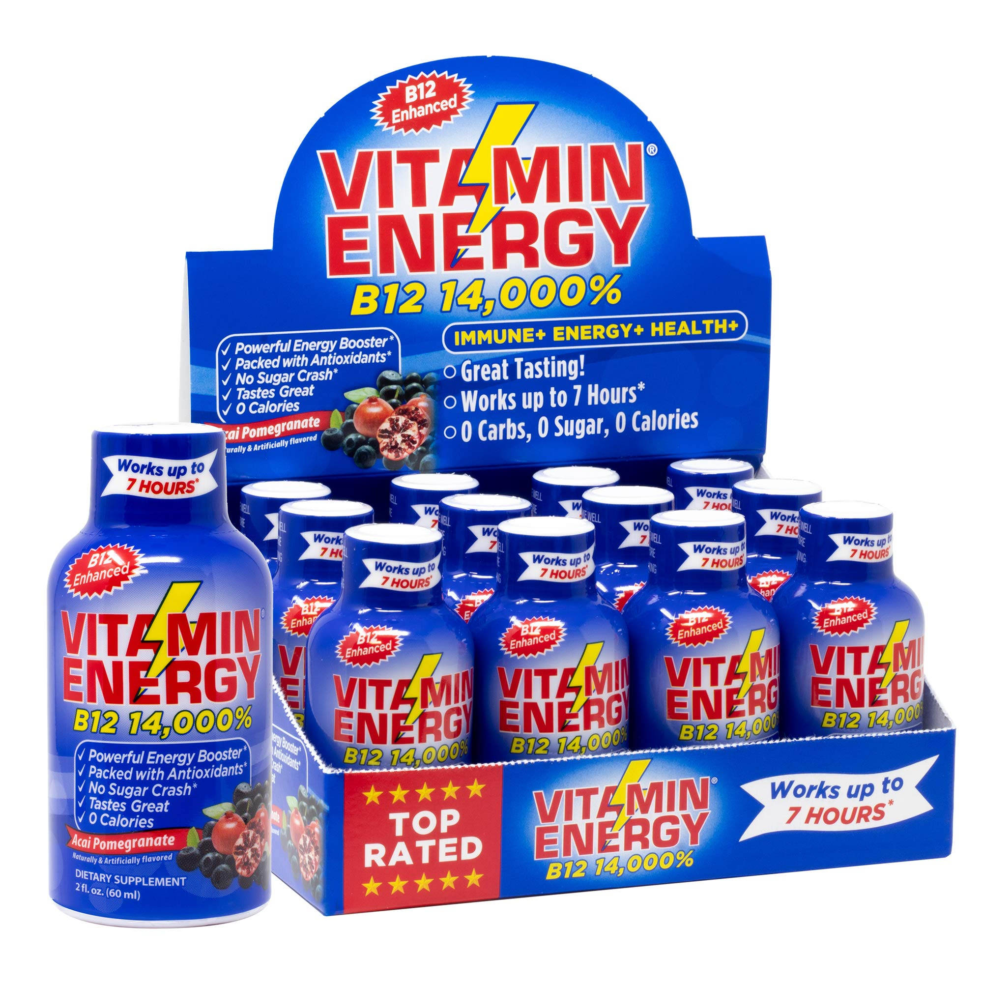 Vitamin Energy Shots - Acai Pomegranate | Vitamin B12 Enhanced | Up to 7 Hours of Energy | More Energy Than 1 Cup of Coffee | 0 Calories, 0 Sugar, 0 Carbs (12 Pack)