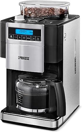 Princess 249402 - Cafetera con molinillo de café, panel de control digital, capacidad 1.25 L, sistema antigoteo, 1000 W, para 10-12 tazas de café: Amazon.es: Hogar