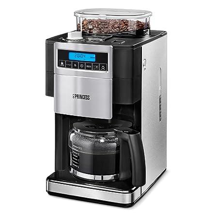 Princess 249402 - Cafetera con molinillo Deluxe, capacidad 1.25 l, color plateado